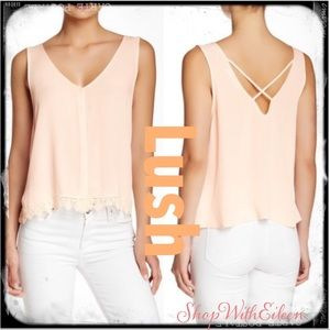 LUSH Pastel Peach Sleeveless Lace Detail Top